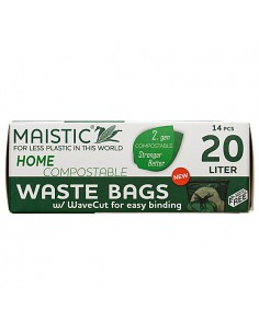 MAISTIC 20 liter 2.GEN HOME Compostable WaveCut Waste bags/Bin liners. 14 units/ roll